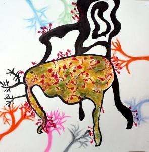 Gemengde techniek op papier - 60x60 cm
