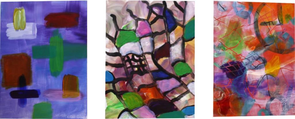 Acryl op doek - 3 doeken van 30x40 cm - verkocht