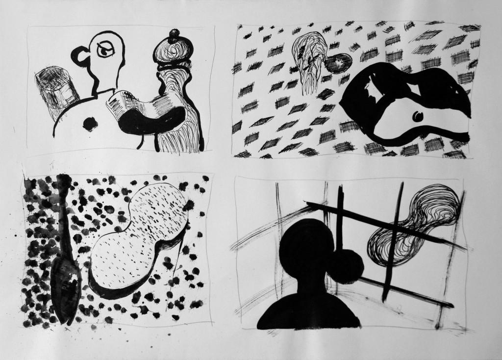 Oost-indische inkt op papier