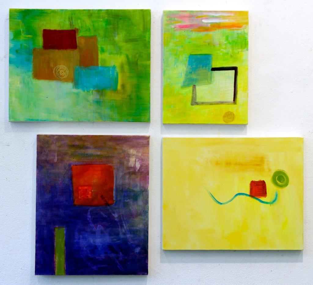 Acryl op doek - 3 doeken van 40x50 cm - 1 doek van 30x40 cm