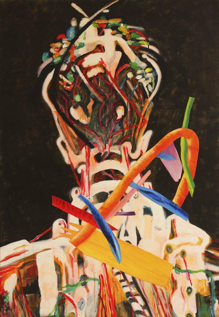Complication - 70 x 100 cm - acryl en collage op doek